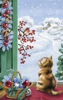 Christmas Kitten Watching Bird and Berries Fine-Art Print