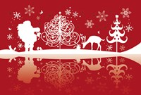Red and White Santa and Deer Silhouette Fine-Art Print