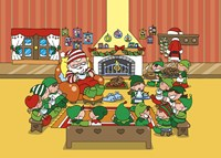 Santa and Elves Tea and Muffin Meet Fine-Art Print
