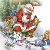 Santa's Christmas Sleigh Bunny Meeting Fine-Art Print