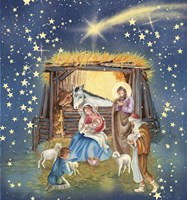 Christmas Manger and Shooting Stars Fine-Art Print