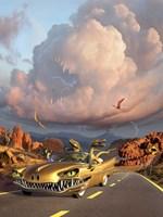 Two Velociraptors in  a Prehistoric Landscape Fine-Art Print