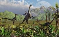 Velociraptor Dinosaurs Attack a Camarasaurus Fine-Art Print