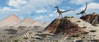 Velociraptors Stalking a Herd of Protoceratops Fine-Art Print
