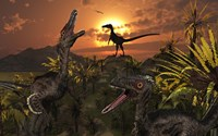A Group of Feathered Carnivorous Velociraptors Fine-Art Print
