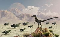 Protoceratops stampede in fear as a Velociraptor Watches Fine-Art Print