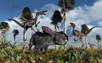 Velociraptors Attack a Lone Protoceratops Fine-Art Print