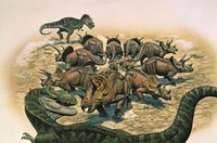 A Herd of Triceratops Defend their Territory Fine-Art Print
