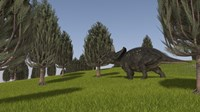 Triceratops Walking across a Grassy Field 2 Fine-Art Print