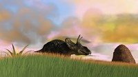Triceratops Walking across a Grassy Field 3 Fine-Art Print