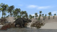 Triceratops Walking along the Shoreline 1 Fine-Art Print