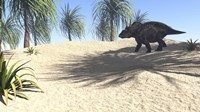 Triceratops Walking in a Tropical Environment 1 Fine-Art Print