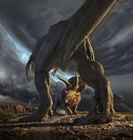A Tyrannosaurus Rex and Triceratops in a Face Off Fine-Art Print