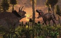 T- Rex and Triceratops meet for a Battle 1 Fine-Art Print