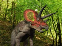 A Colorful Triceratops Wanders a Cretaceous Forest Fine-Art Print