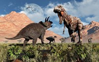 Prehistoric battle between a Triceratops and Tyrannosaurus Rex Fine-Art Print