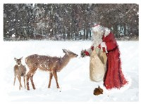 Santa Greets The Deer Fine-Art Print
