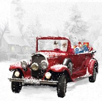 Santa's Red Classic Car Fine-Art Print
