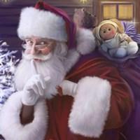 Shhh Santa's Doll And Bear Fine-Art Print