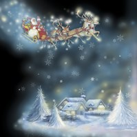 Santa's Starry Snowflake Ride Fine-Art Print