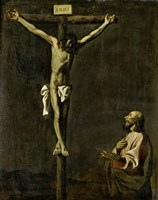 Saint Luke as a Painter Before Christ on the Cross (self-portrait of Francisco de Zurbaran) Fine-Art Print