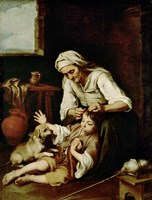 Old Woman Cleaning a Boy's Hair Fine-Art Print