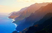 Mountain range at sunrise, Na Pali Coast, Kauai, Hawaii, USA Fine-Art Print