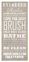 Bathroom Rules (White on Beige) Fine-Art Print