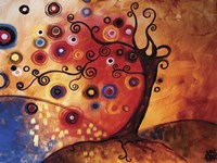 Tree Whimsy On Red Fine-Art Print