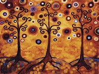 Tree Whimsy Of Three Orange Fine-Art Print