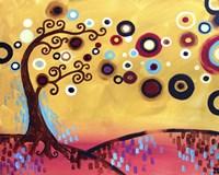 Swirling Trees Peach Sky Fine-Art Print