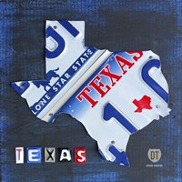 Texas License Plate Map Fine-Art Print