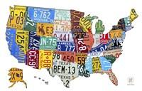 License Plate Map USA II Fine-Art Print