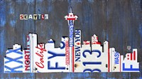 Seattle Skyline License Plate Art Fine-Art Print