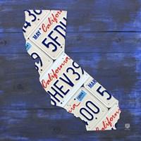 California License Plate Map - Blue Fine-Art Print
