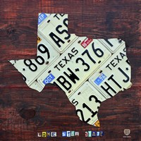 Texas License Plate Map Large Fine-Art Print