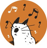 Orange Music Cat Fine-Art Print