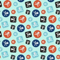 Pirate Badge Pattern Blue Fine-Art Print