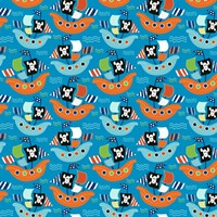 Pirate Ship Pattern Blue Fine-Art Print