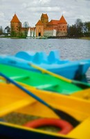 Colorful Boats and Island Castle by Lake Galve, Trakai, Lithuania Fine-Art Print