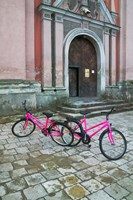 Bicycles Outside a Traditional House, Vilnius, Lithuania Fine-Art Print