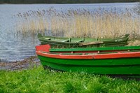 Colorful Canoe by Lake, Trakai, Lithuania I Fine-Art Print