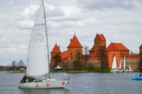 Sailboat with Island Castle by Lake Galve, Trakai, Lithuania Fine-Art Print