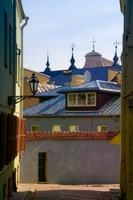 Traditional Houses in the old town, Vilnius, Lithuania Fine-Art Print