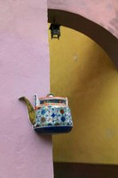 Wall Decorated with Teapot and Cobbled Street in the Old Town, Vilnius, Lithuania III Fine-Art Print
