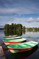 Lithuania, Trakai Historical NP, Lake Galve boats Fine-Art Print