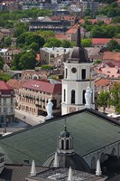 Royal Palace and Vilnius Cathedral, Gediminas Hill elevated view of Old Town, Vilnius, Lithuania Fine-Art Print