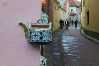 Wall Decorated with Teapot and Cobbled Street in the Old Town, Vilnius, Lithuania II Fine-Art Print