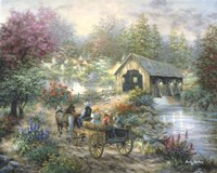 Merriment At Covered Bridge Fine-Art Print