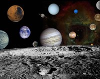 Montage of the planets and Jupiter's Moons Fine-Art Print